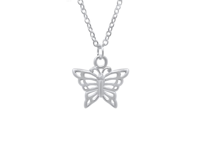 Sterling Silver Girls Butterfly Necklace Pendant 925 Jewelry Love Child Daughter Birthday Flower Girl Princess Wedding