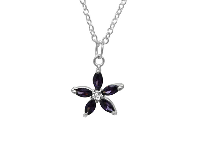 Sterling Silver Girls Flower Necklace Pendant 925 Jewelry Purple CZ Clear Cubic Zirconia Love Child Daughter Gift
