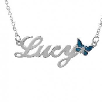 Personalized Sterling Silver Girls Name Necklace Pendant Butterfly Custom Flower Girl Gift 925 Jewelry