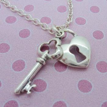 Sterling Silver Girls 'Key to my Heart' Necklace Pendant 925 Jewelry Love Child Daughter Birthday Flower Girl Princess