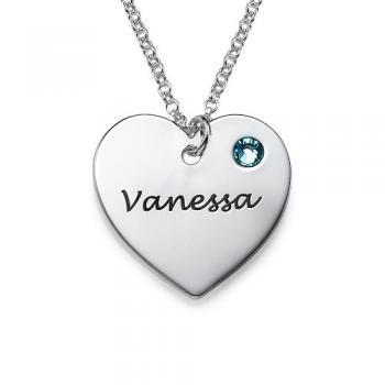 Personalized Sterling Silver Engraved Girls Name Necklace Pendant Birthstone Heart Custom Flower Girl Gift 925 Jewelry