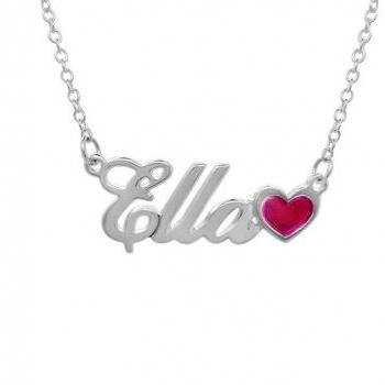 Personalized Sterling Silver Girls Name Necklace Pendant Heart Custom Flower Girl Gift 925 Jewelry