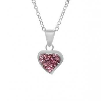 Sterling Silver Girls Pink Crystal Pave Heart Necklace Pendant 925 Jewelry Love Child Daughter Birthday Gift Wedding