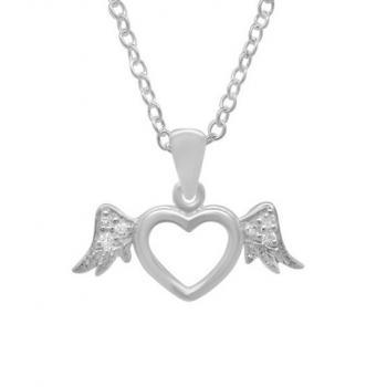 Sterling Silver Girls Flying Heart Necklace Pendant 925 Jewelry Wings CZ Cubic Zirconia Love Child Daughter Birthday Gift