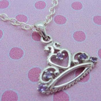 Sterling Silver Girls Amethyst Tiara Necklace Pendant 925 Jewelry Love Child Daughter Birthday Flower Girl Princess